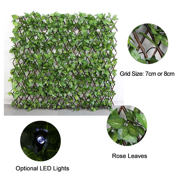 artificial lattice with rose leaves&LED lights