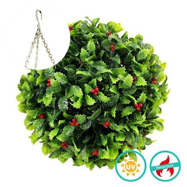 Artificial Hanging Topiary with Christmas Leaves