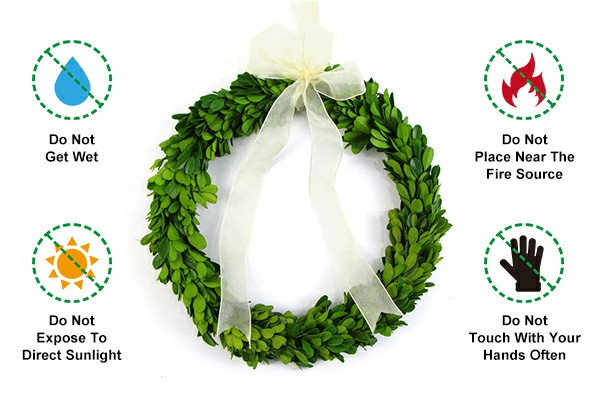 Precautions for using preserved boxwood garland