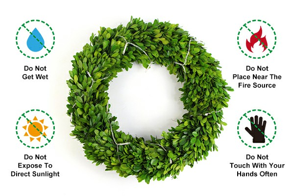 Precautions for using preserved boxwood wreath