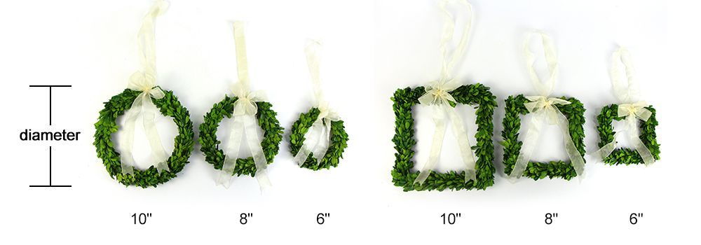 Size of preserved boxwood garland