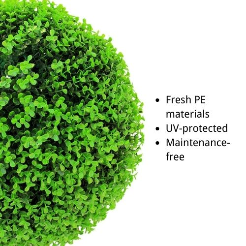 artificial boxwood topiary features