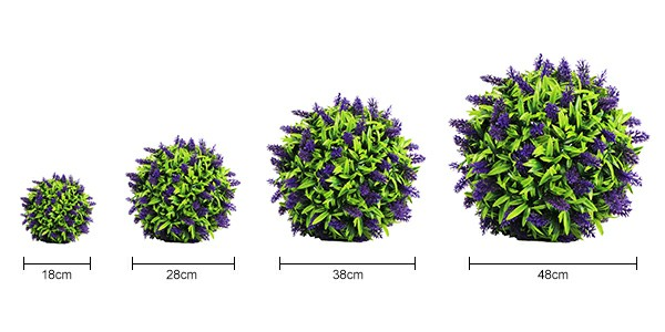 faux lavender topiary ball size