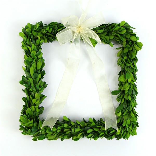 square preserved boxwood wreath