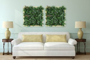 square artificial plant on the wall