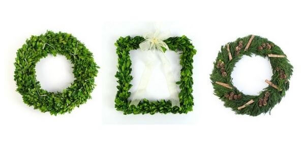 Three types of preserved wreaths
