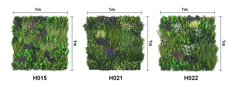 size of artifiicial vertical garden plants