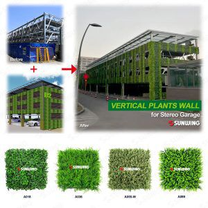 large stereo garage ecterilr wall hedges