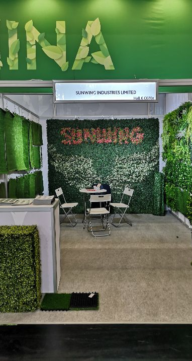 sunwing artificial plants at trade fair