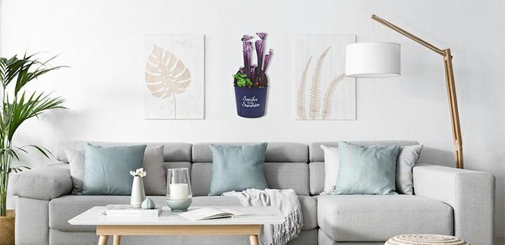 Indoor artificial carnivorous plant in metal pot