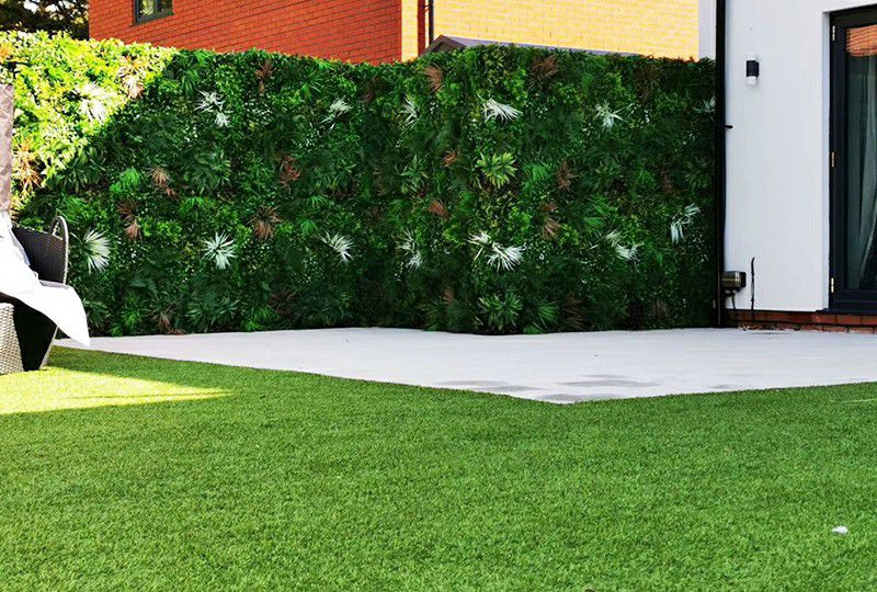 UV protected outdoor artificial greenery wall or fence