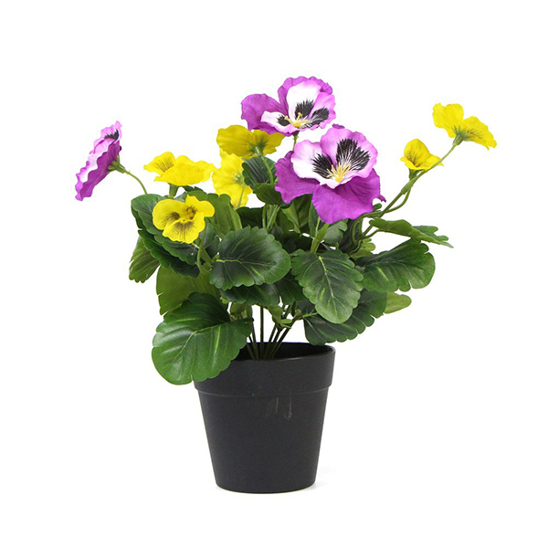 artificial potted plants with pansy