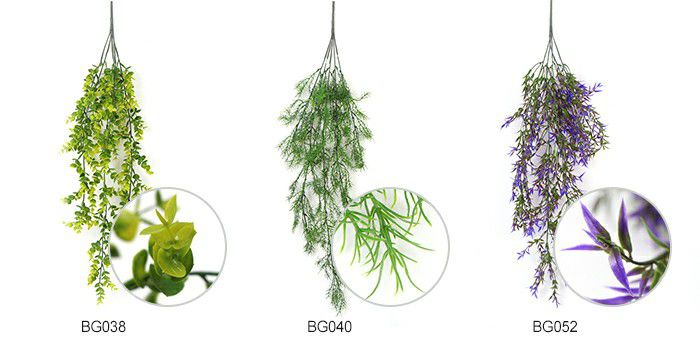 3 styles of artificial wall hanging creepers
