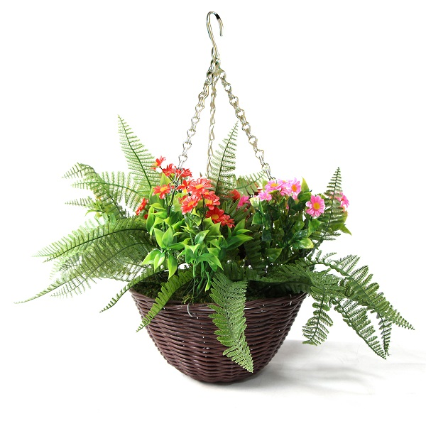 Durable Artificial Hanging Basket Plants Lily with LED Lights HL017