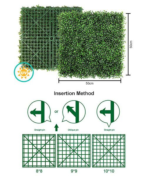 artificial boxwood hedge and insertion methods