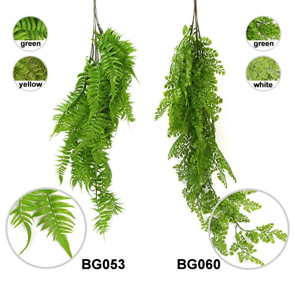 comparison between two faux hanging ferns