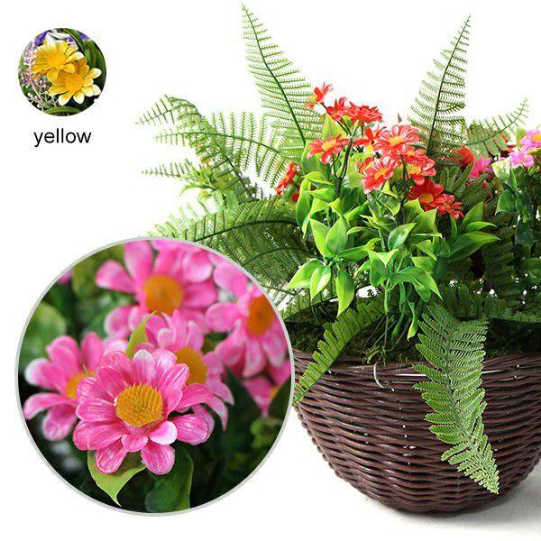 detailed artificial floral hanging basket