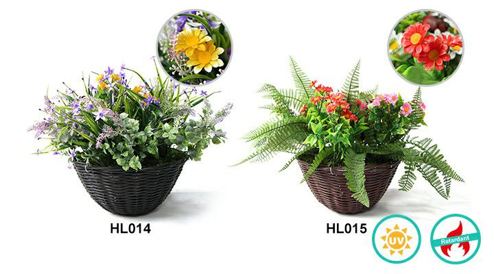 detailed info of HL014&HL015 artificial hanging baskets