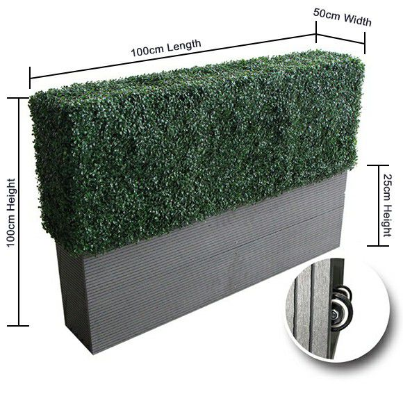 dimension and movable wheel of artificial hedge planters