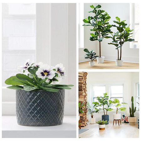 home decor with artificial leaves potted plants