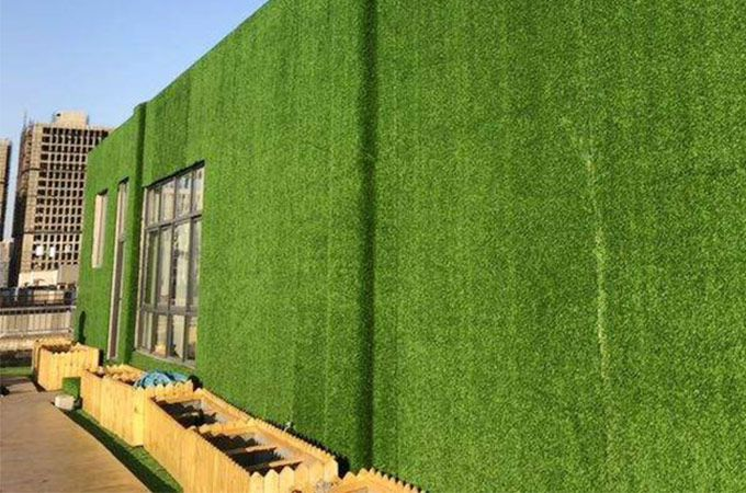 landscape of artificial grass wall
