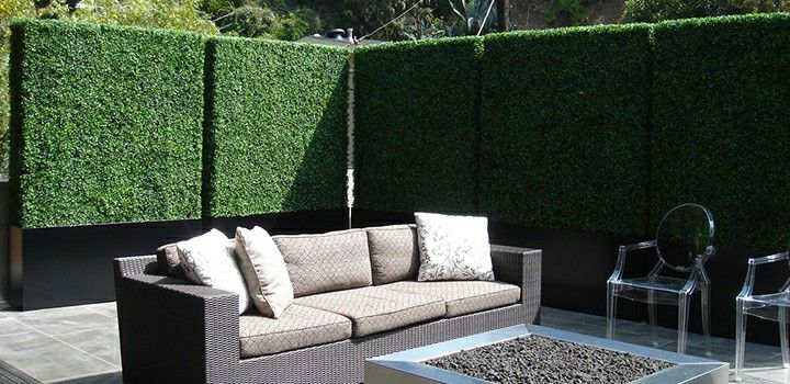 stunning landscape of artificial boxwood hedges-- commercial grade