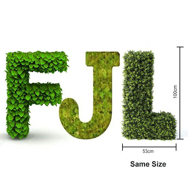 Artificial topiary letters F,J,L