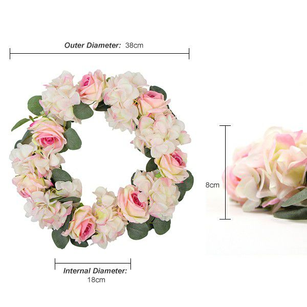 Details of artificial flower wreath