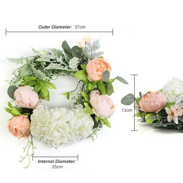 Details of silk flower wreath