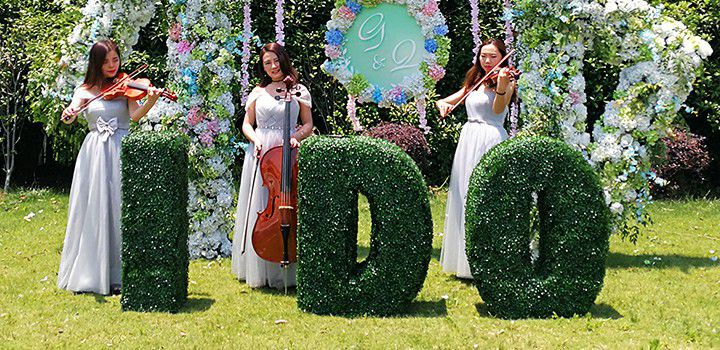 I DO Boxwood Letters in the Wedding Outdoors