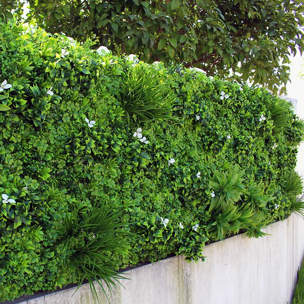 Outdoor Fence with Artificial Green Wall with White Flowers