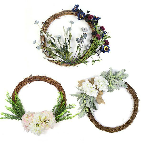 Silk flower wreaths with leaves