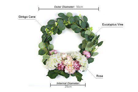 details of fake flower wreath