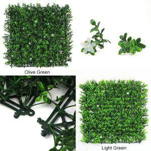details of faux foliage panel