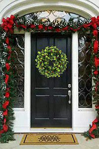 faux leaf wreath for the front door