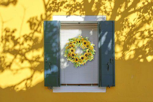 faux plant wreath for window decor