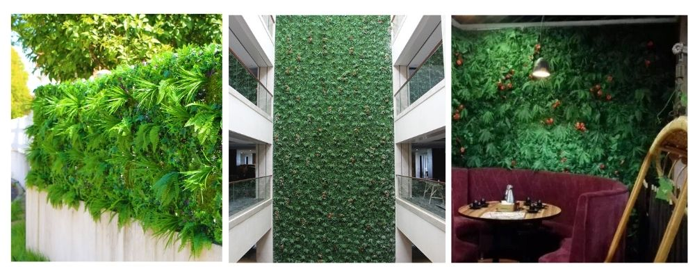 indoor and outdoor uses of artificial green wall with fern leaves