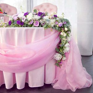 table decor with floral swags