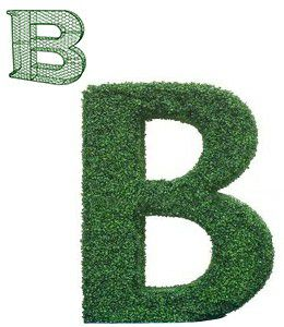 topiary letter B with iron frame