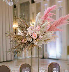 Artificial Pampas Grass Bunches in the Hotel