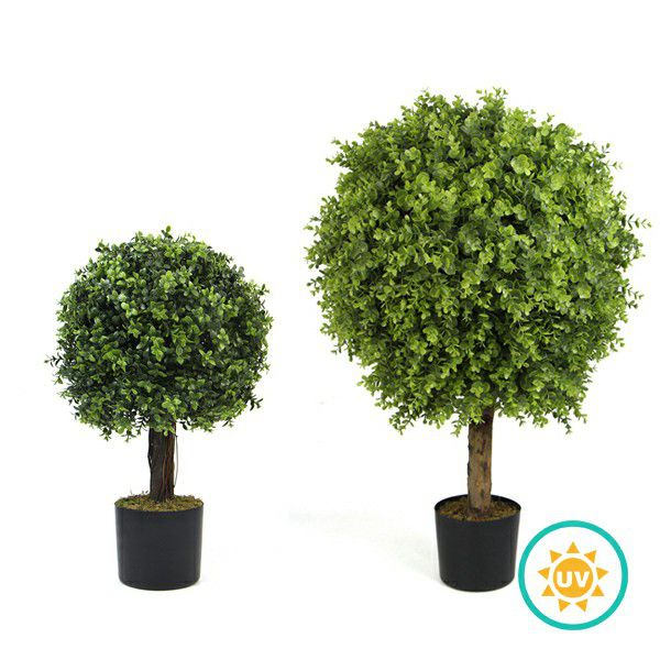 artificial boxwood topiary tree in pot