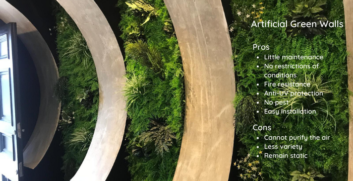 pros and cons of artificial green walls