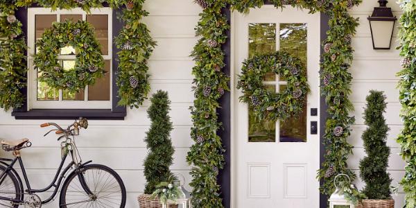 Fake Flower Arrangements for Door Surrounds