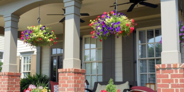 Outdoor Artificial Hanging Baskets for Porches
