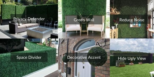 artificial boxwood in multiple uses