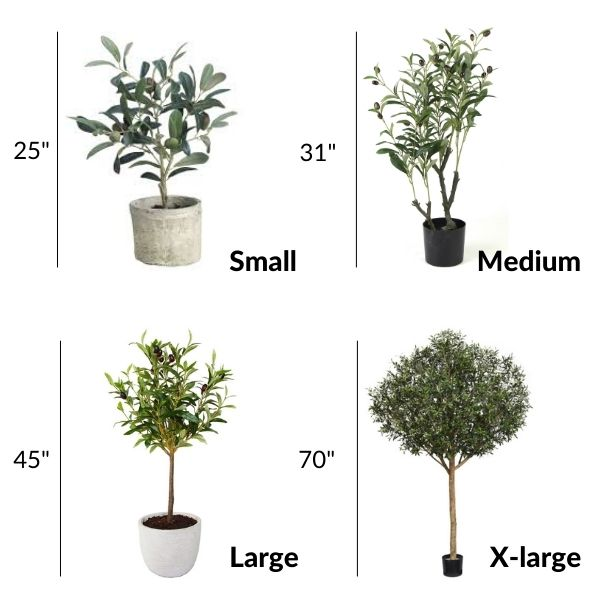 different artificial potted olive trees in four sizes