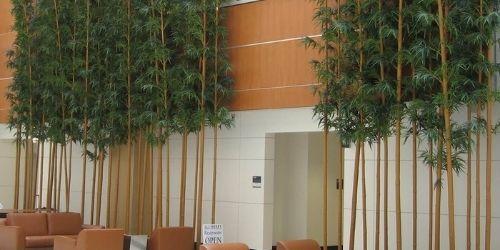 outdoor artificial bamboo plants as a screen