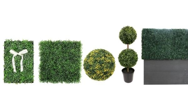 top recommended faux boxwood products - framed boxwood, boxwood panel, boxwood topiary, and boxwood in planter