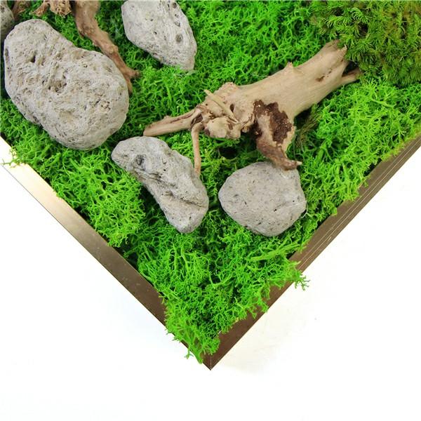 stones decor for reindeer moss art