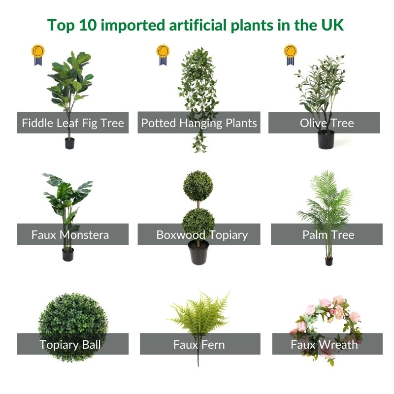top 10 imported artificial greenery plants in the UK